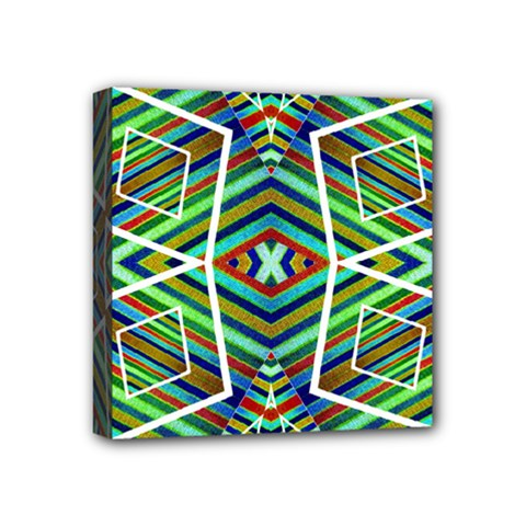Colorful Geometric Abstract Pattern Mini Canvas 4  X 4  (framed) by dflcprints