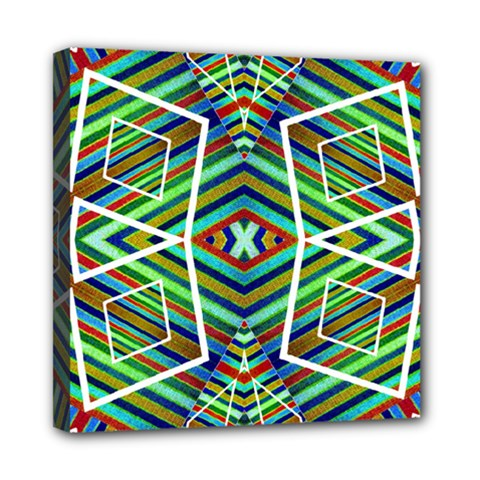 Colorful Geometric Abstract Pattern Mini Canvas 8  X 8  (framed) by dflcprints