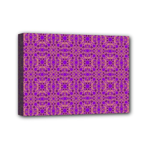 Purple Moroccan Pattern Mini Canvas 7  X 5  (framed)