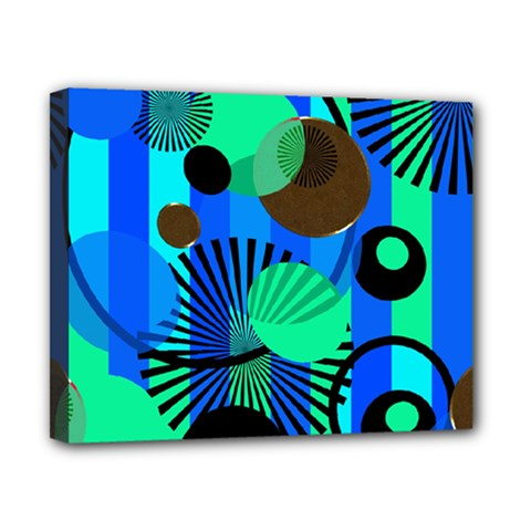 Blue Green Stripes Dots Canvas 10  X 8  (framed) by bloomingvinedesign