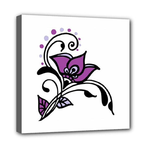 Awareness Flower Mini Canvas 8  X 8  (framed) by FunWithFibro