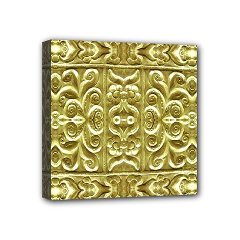 Gold Plated Ornament Mini Canvas 4  X 4  (framed) by dflcprints