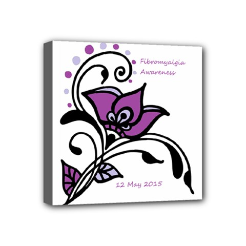 2015 Awareness Day Mini Canvas 4  X 4  (framed) by FunWithFibro
