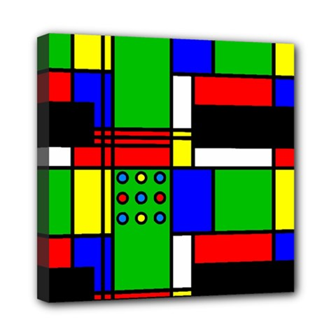 Mondrian Mini Canvas 8  X 8  (framed) by Siebenhuehner