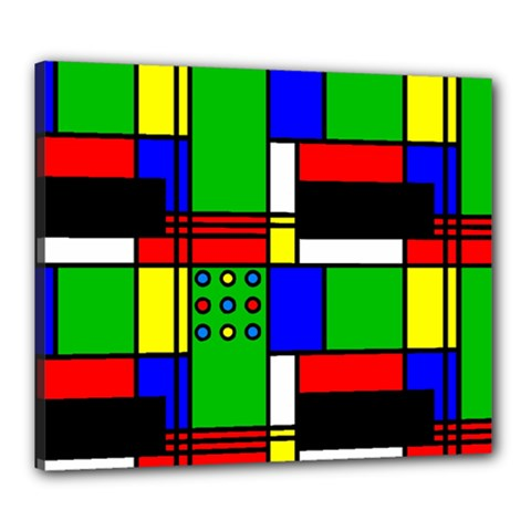 Mondrian Canvas 24  X 20  (framed) by Siebenhuehner