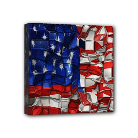 American Flag Blocks Mini Canvas 4  X 4  (framed) by bloomingvinedesign