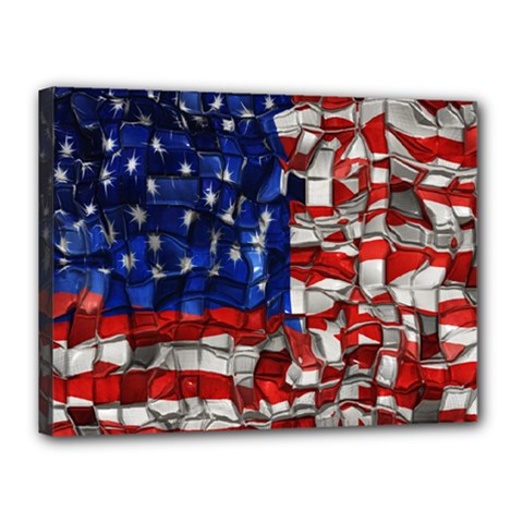 American Flag Blocks Canvas 16  X 12  (framed) by bloomingvinedesign