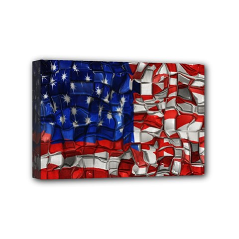 American Flag Blocks Mini Canvas 6  X 4  (framed) by bloomingvinedesign