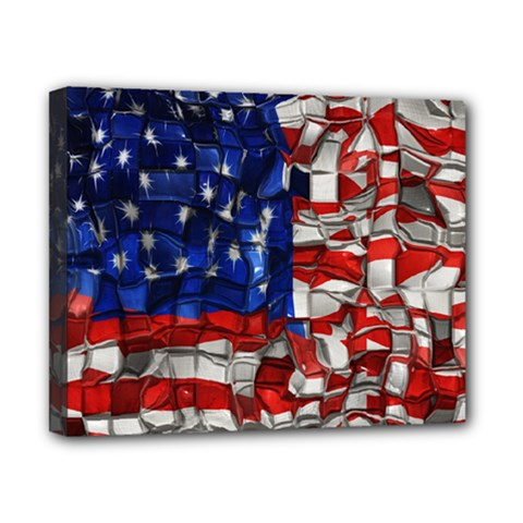 American Flag Blocks Canvas 10  X 8  (framed) by bloomingvinedesign