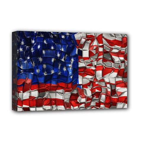 American Flag Blocks Deluxe Canvas 18  X 12  (framed) by bloomingvinedesign