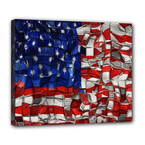 American Flag Blocks Deluxe Canvas 24  X 20  (framed) by bloomingvinedesign