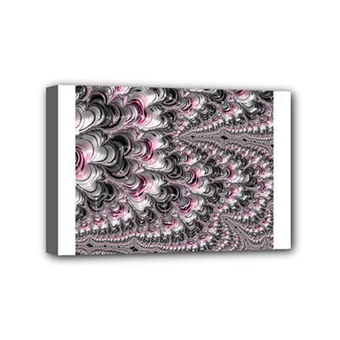 Black Red White Lava Fractal Mini Canvas 6  x 4  (Framed)