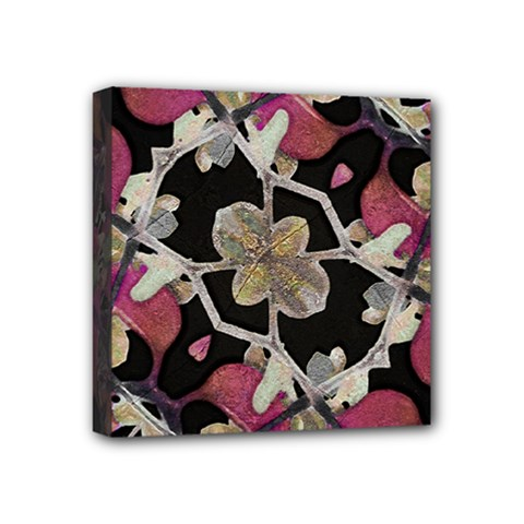 Floral Arabesque Decorative Artwork Mini Canvas 4  X 4  (framed) by dflcprints