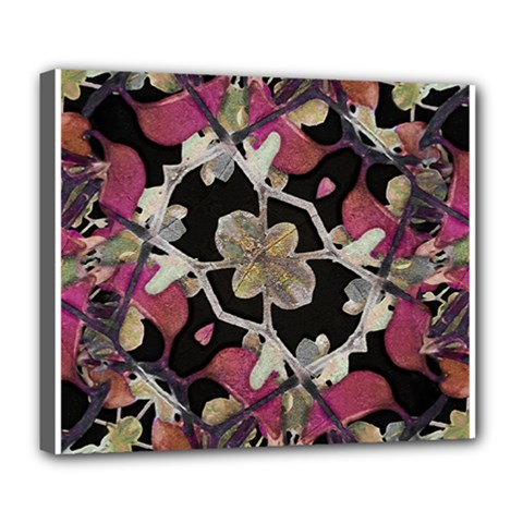 Floral Arabesque Decorative Artwork Deluxe Canvas 24  X 20  (framed) by dflcprints