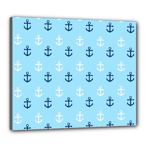 Anchors In Blue And White Canvas 24  X 20  (framed) by StuffOrSomething