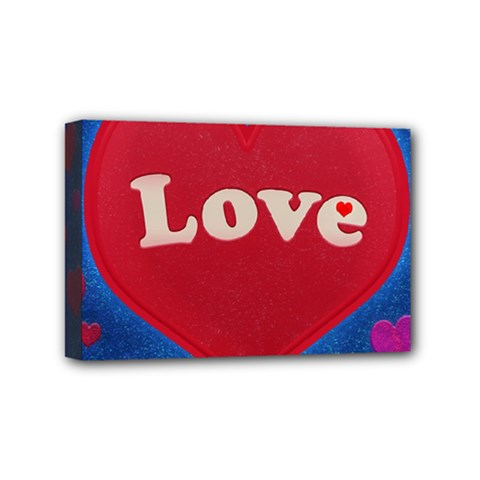 Love Theme Concept  Illustration Motif  Mini Canvas 6  X 4  (framed)