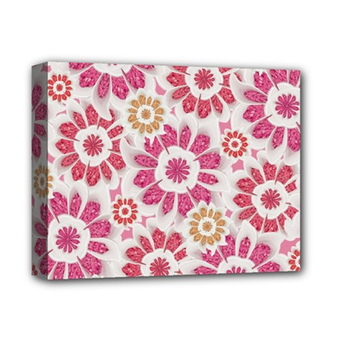 Feminine Flowers Pattern Deluxe Canvas 14  X 11  (framed) by dflcprints