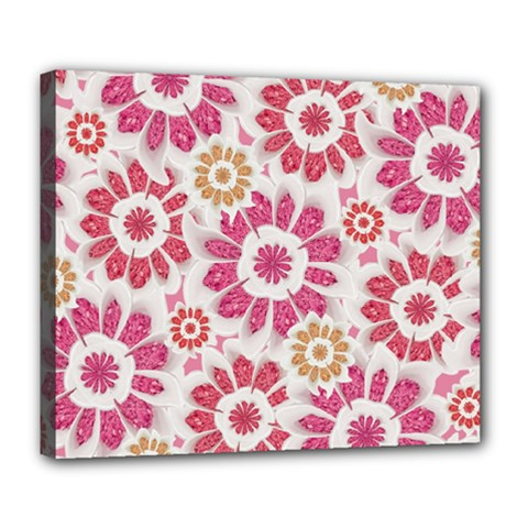 Feminine Flowers Pattern Deluxe Canvas 24  X 20  (framed) by dflcprints