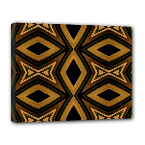 Tribal Diamonds Pattern Brown Colors Abstract Design Canvas 14  X 11  (framed) by dflcprints