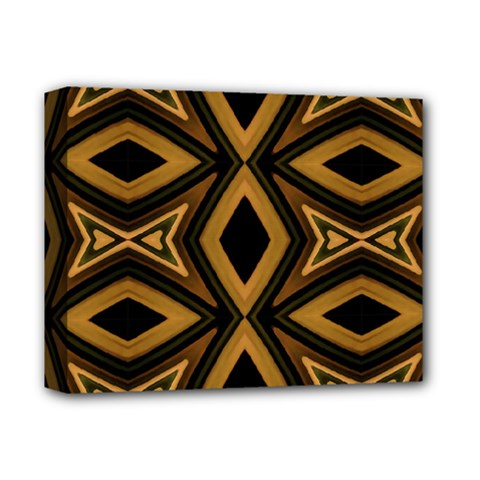 Tribal Diamonds Pattern Brown Colors Abstract Design Deluxe Canvas 14  X 11  (framed) by dflcprints