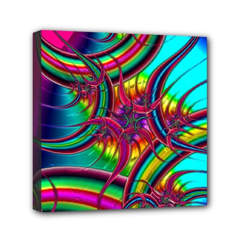 Abstract Neon Fractal Rainbows Mini Canvas 6  X 6  (framed) by StuffOrSomething