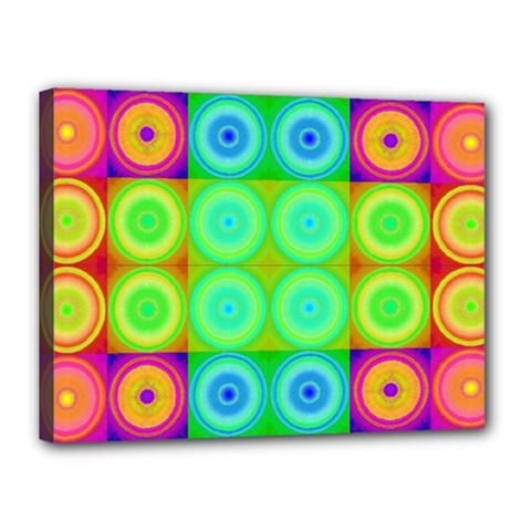 Rainbow Circles Canvas 16  X 12  (framed)