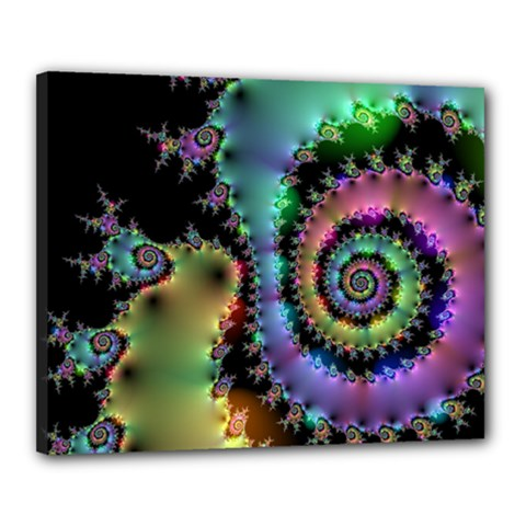 Satin Rainbow, Spiral Curves Through The Cosmos Canvas 20  X 16  (framed) by DianeClancy