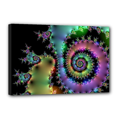Satin Rainbow, Spiral Curves Through The Cosmos Canvas 18  X 12  (framed) by DianeClancy