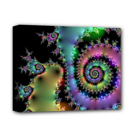 Satin Rainbow, Spiral Curves Through The Cosmos Deluxe Canvas 14  X 11  (framed) by DianeClancy