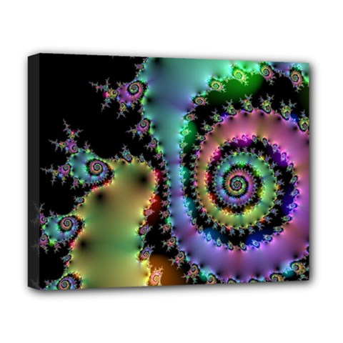Satin Rainbow, Spiral Curves Through The Cosmos Deluxe Canvas 20  X 16  (framed) by DianeClancy
