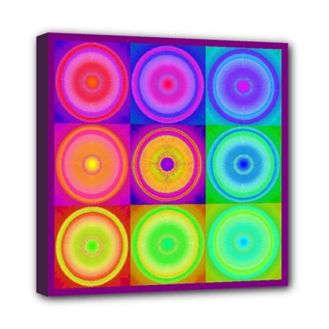 Retro Circles Mini Canvas 8  X 8  (framed) by SaraThePixelPixie
