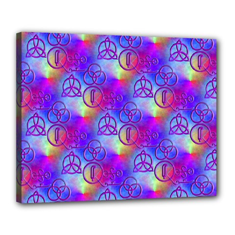 Rainbow Led Zeppelin Symbols Canvas 20  X 16  (stretched) by SaraThePixelPixie
