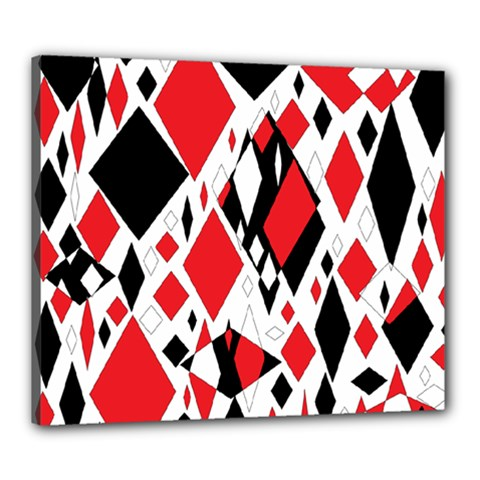 Distorted Diamonds In Black & Red Canvas 24  X 20  (framed)
