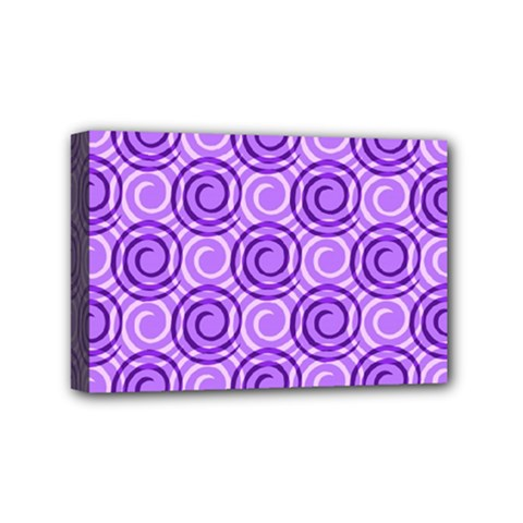 Purple And White Swirls Background Mini Canvas 6  X 4  (framed) by Colorfulart23
