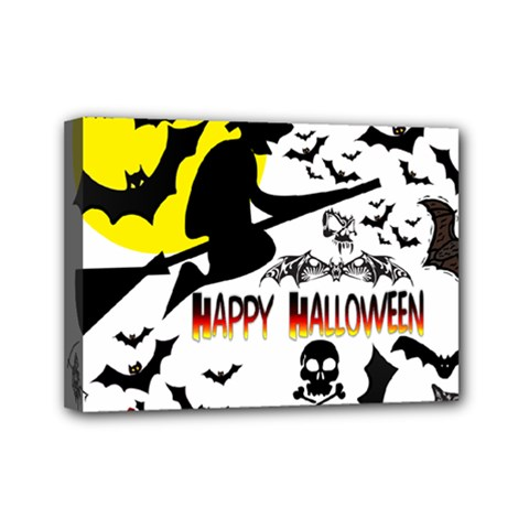 Happy Halloween Collage Mini Canvas 7  X 5  (framed) by StuffOrSomething