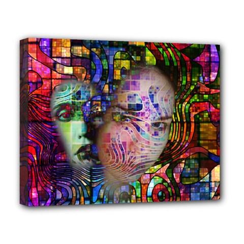 Artistic Confusion Of Brain Fog Deluxe Canvas 20  X 16  (framed) by FunWithFibro