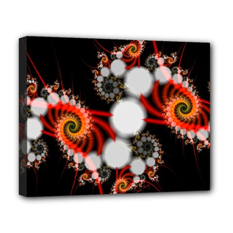 Mysterious Dance In Orange, Gold, White In Joy Deluxe Canvas 20  X 16  (framed) by DianeClancy