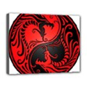 Yin Yang Dragons Red and Black Canvas 14  x 11  (Framed) View1