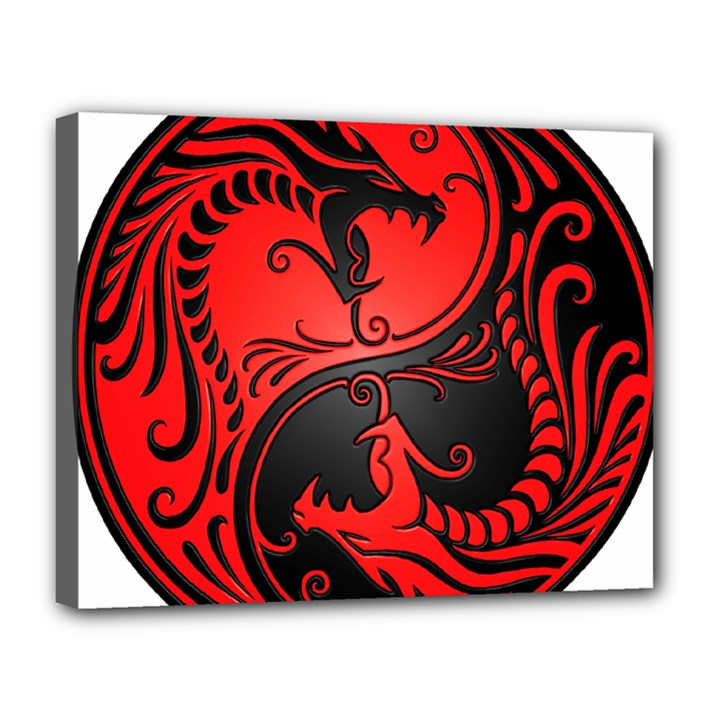 Yin Yang Dragons Red and Black Canvas 14  x 11  (Framed)