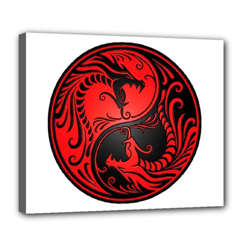 Yin Yang Dragons Red And Black Deluxe Canvas 24  X 20  (framed) by JeffBartels