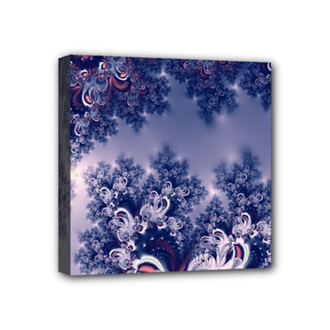Pink And Blue Morning Frost Fractal Mini Canvas 4  X 4  (framed) by Artist4God
