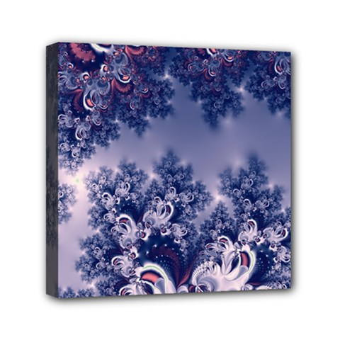 Pink And Blue Morning Frost Fractal Mini Canvas 6  X 6  (framed) by Artist4God