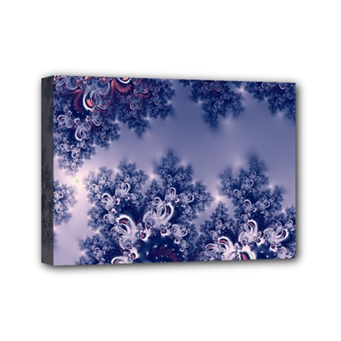 Pink And Blue Morning Frost Fractal Mini Canvas 7  X 5  (framed) by Artist4God