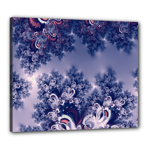 Pink And Blue Morning Frost Fractal Canvas 24  X 20  (framed) by Artist4God