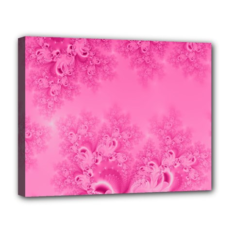 Soft Pink Frost Of Morning Fractal Canvas 14  X 11  (framed) by Artist4God