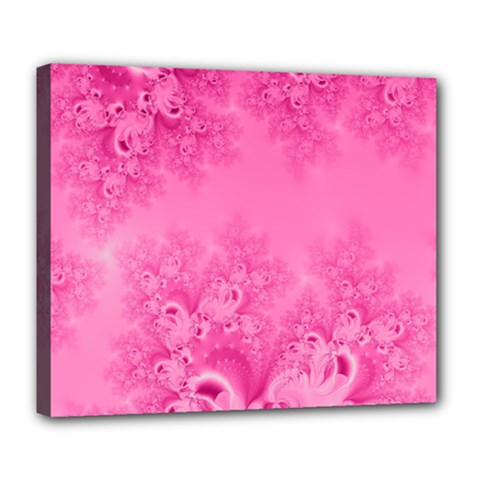 Soft Pink Frost Of Morning Fractal Deluxe Canvas 24  X 20  (framed) by Artist4God