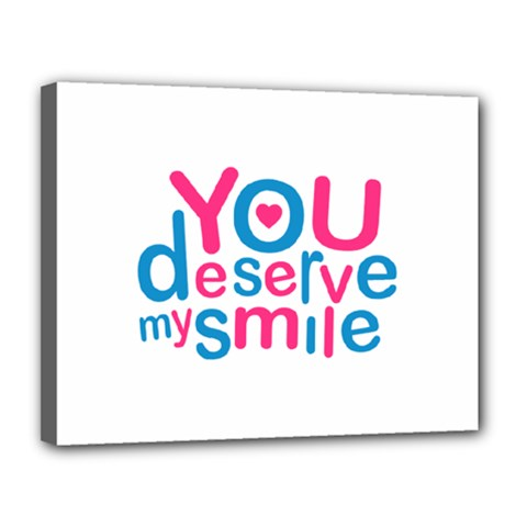 You Deserve My Smile Typographic Design Love Quote Canvas 14  X 11  (framed) by dflcprints