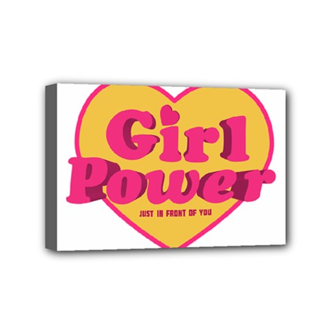 Girl Power Heart Shaped Typographic Design Quote Mini Canvas 6  X 4  (framed) by dflcprints