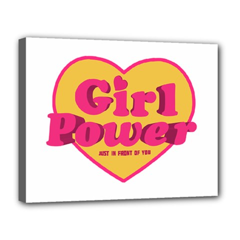 Girl Power Heart Shaped Typographic Design Quote Canvas 14  X 11  (framed) by dflcprints