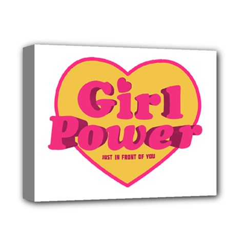 Girl Power Heart Shaped Typographic Design Quote Deluxe Canvas 14  x 11  (Framed) by dflcprints